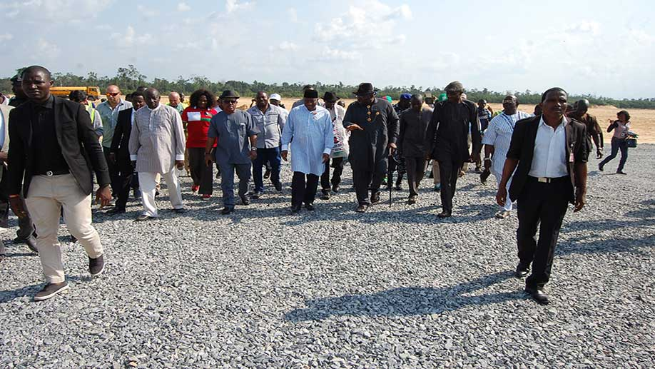 Bayelsa State International Airport site visit by the former president Dr Goodluck Jonathan and the Executive Governor of Bayelsa State Henry Dickson on the 30th of November 2015